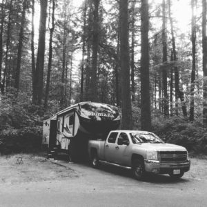 Silverado truck and Montana Trailer in a campsite